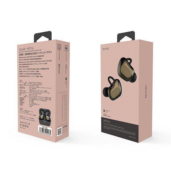 NUARL NT01A 完全ワイヤレス イヤホン IPX4耐水 連続10時間再生 グラフェンドライバー QCC3020 Bluetooth5 aptX対応(ブラックゴールド) nuarl 04