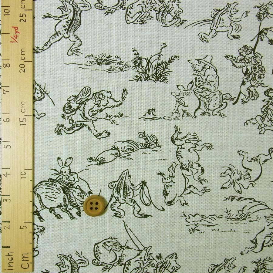 和柄コットン生地 鳥獣人物戯画 アイボリー 布がたり ヤフー店 通販 Yahoo ショッピング
