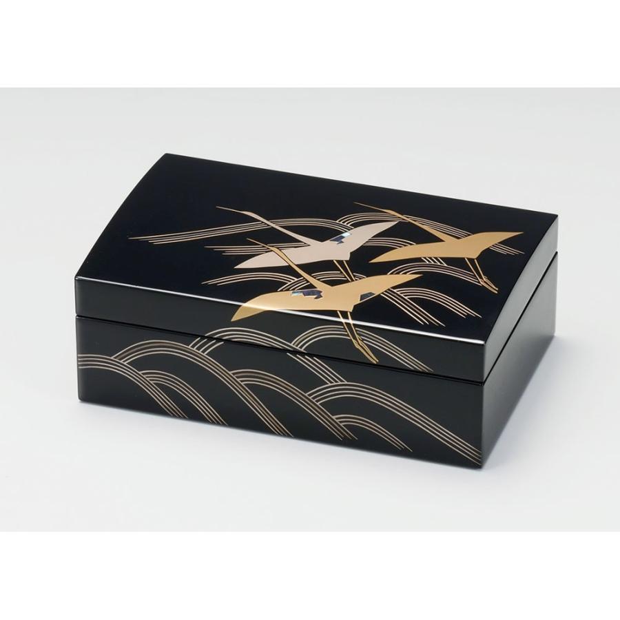 長小筥 アクセサリーBOX ジュエリーボックス 宝石箱 母の日ギフト 越前塗り 越前漆器 黒 貝入り 波に鶴 漆塗り 木製 うるし塗り