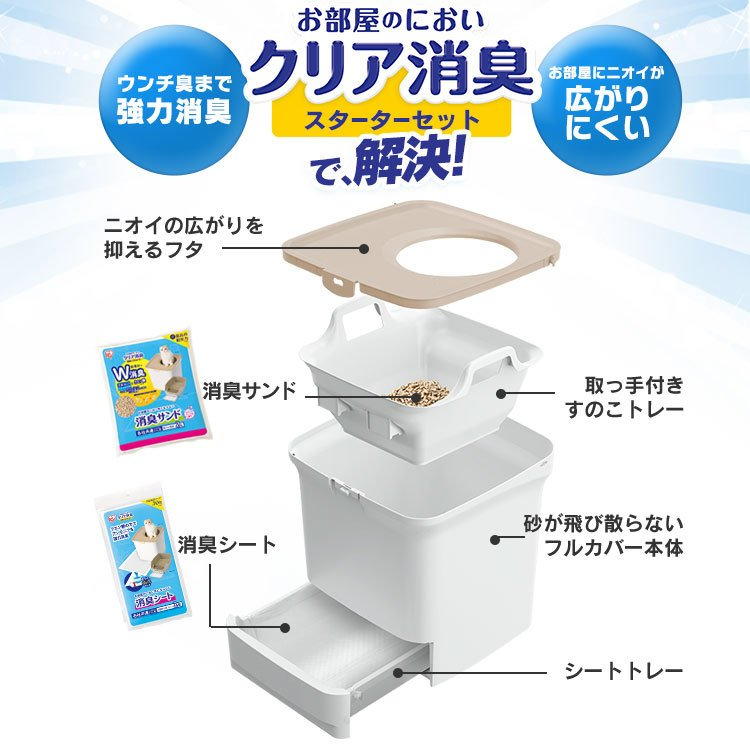 猫 トイレ 猫トイレ おすすめ 大型 システム おしゃれ におい対策 上から 匂い対策 お部屋のにおいクリア消臭 猫用システムトイレ ONC-430 アイリスオーヤマ nyanko 04