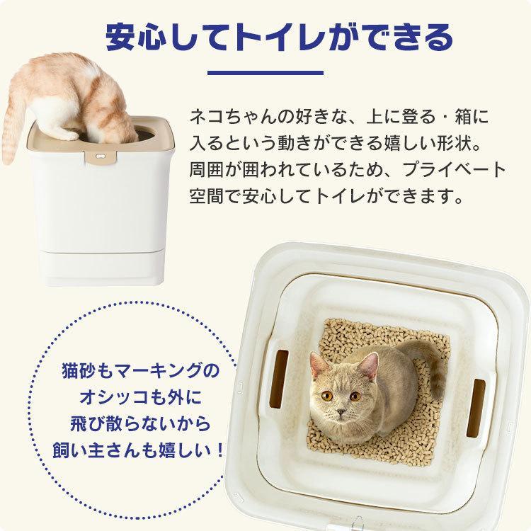 猫 トイレ 猫トイレ おすすめ 大型 システム おしゃれ におい対策 上から 匂い対策 お部屋のにおいクリア消臭 猫用システムトイレ ONC-430 アイリスオーヤマ nyanko 08