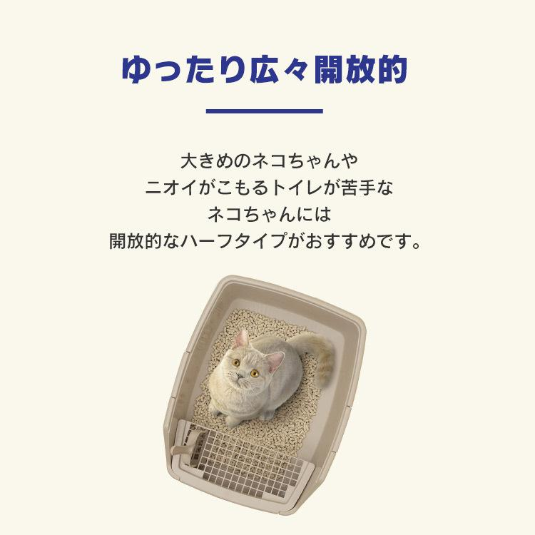 猫 トイレ 猫トイレ おすすめ 大型 システム おしゃれ におい対策 匂い対策 お部屋のにおいクリア消臭 猫用システムトイレハーフ ONCH-530 アイリスオーヤマ|nyanko|07