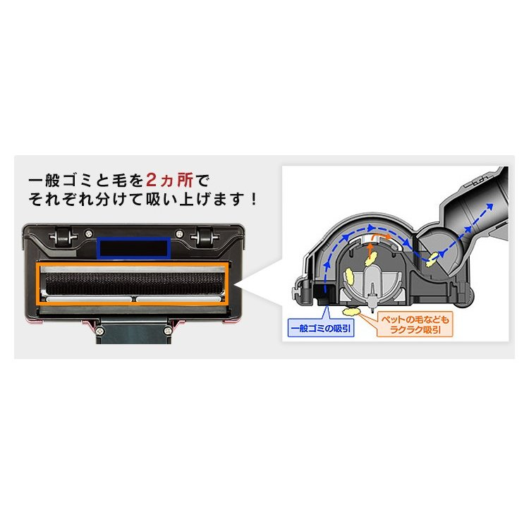 掃除機 サイクロンスティッククリーナー 超吸引毛取りヘッド レッド ESC-55K-R 新生活 掃除 おすすめ 紙パック不要 コンパクト 軽量|nyanko|06