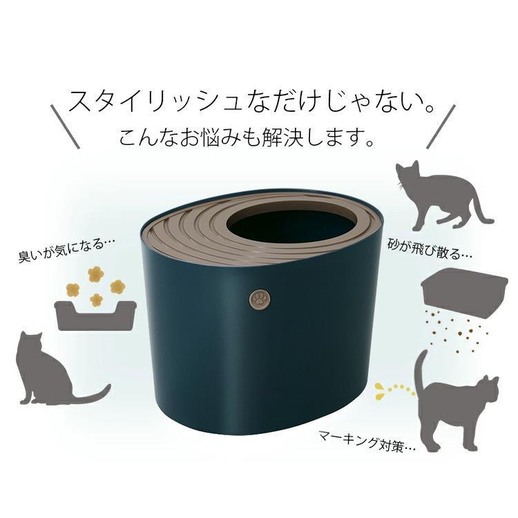 猫トイレ カバー におい対策 おしゃれ 収納 目隠し 猫 トイレ アイリスオーヤマ ネコトイレ ペット用 ペットトイレ 上から猫トイレプチ PUNT430|nyanko|04