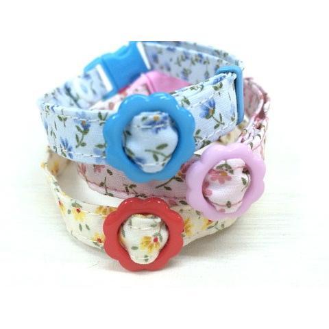 猫 ネコ ねこ キャット 首輪 安全バックル 軽い 負担少ない 手作り ソフト (猫用首輪 お花畑)|nyanpakusengen