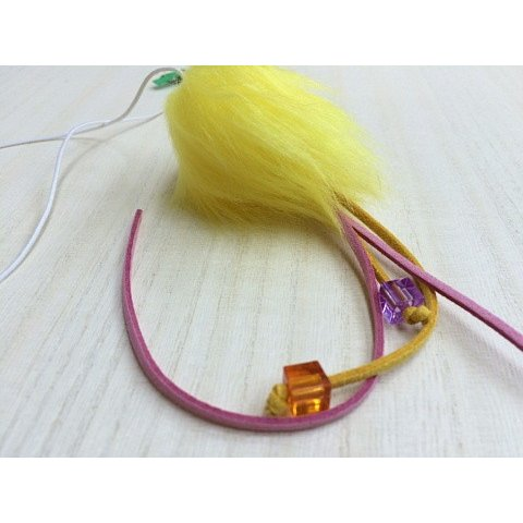 猫 ネコ ねこ じゃらし ジャラシ おもちゃ 付け替え 棒なし 手作り 合皮 フェイクファー ビーズ (付替じゃらし黄ぼうず)(1175)|nyanpakusengen|02