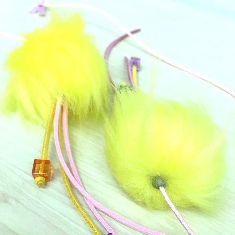 猫 ネコ ねこ じゃらし ジャラシ おもちゃ 付け替え 棒なし 手作り 合皮 フェイクファー ビーズ (付替じゃらし黄ぼうず)(1175)|nyanpakusengen|06