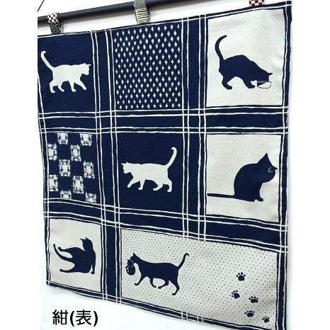 猫 ネコ ねこ キャット インテリア タペストリー 猫柄 和柄 手作り (オリジナルタペストリー 格子猫) nyanpakusengen 05