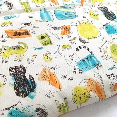 猫 ネコ ねこ キャット マット ベッド フリース プリント生地 猫柄 リバーシブル 手作り (フリースとプリント地のリバーシブルマット)|nyanpakusengen|11