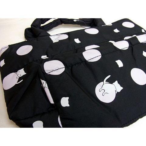 猫 ネコ ねこ キャット ポーチ バッグ キルティング 軽量 リバーシブル プーちゃん 猫柄 (プーちゃんポンディングリバーシブルポーチ(910)|nyanpakusengen|02