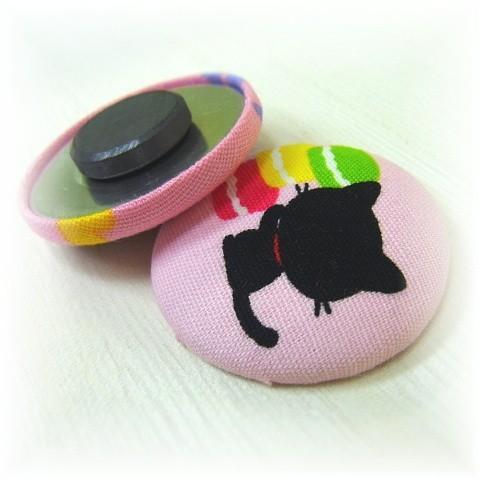 猫 ネコ ねこ キャット マグネット 手作り 布 猫柄 豹柄 (キャットマグネット) nyanpakusengen 07
