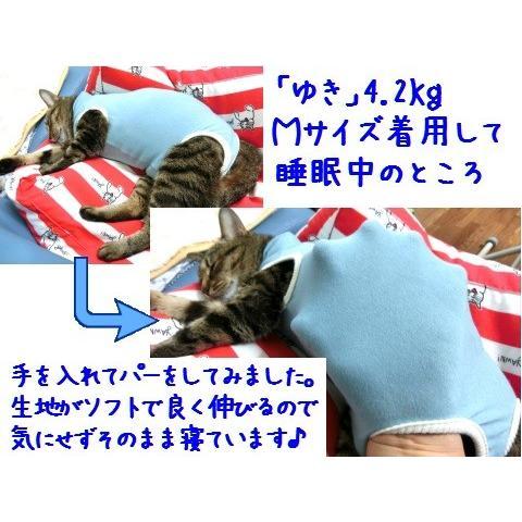猫 キャット ネコ ねこ 術後 服 保護服 傷防止 エリザベスカラー 術後ウェア 術後着 なめ防止 脱毛 傷口 皮膚 避妊 伸縮 (ナメにゃいでレオタードLワイド)|nyanpakusengen|06