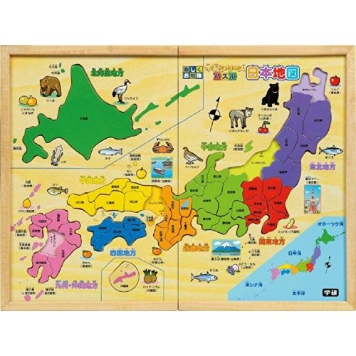 送料無料 木製 パズル日本地図