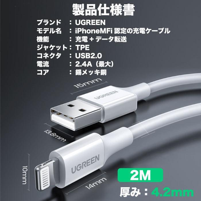 UGREEN iPhone 充電 ケーブル C89コネクタ ライトニングケーブル 高耐久 長い 2m Apple認証 MFi 純正チップ 急速充電対応 アイフォン 充電器 充電ケーブル us155|oa-plaza|12