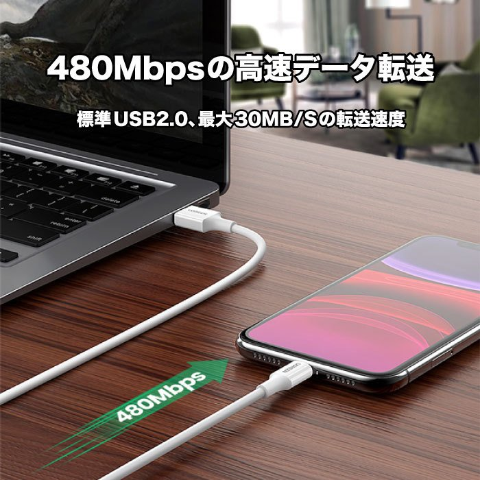 UGREEN iPhone 充電 ケーブル C89コネクタ ライトニングケーブル 高耐久 長い 2m Apple認証 MFi 純正チップ 急速充電対応 アイフォン 充電器 充電ケーブル us155|oa-plaza|04
