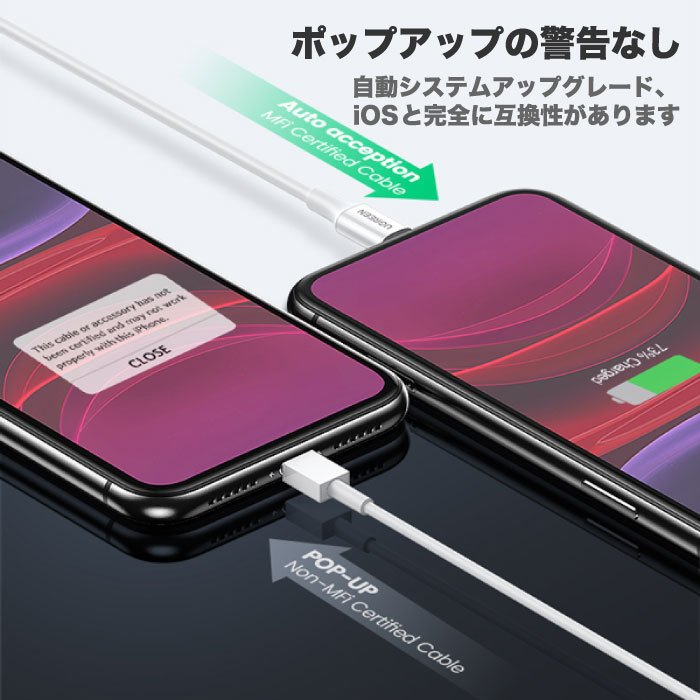 UGREEN iPhone 充電 ケーブル C89コネクタ ライトニングケーブル 高耐久 長い 2m Apple認証 MFi 純正チップ 急速充電対応 アイフォン 充電器 充電ケーブル us155|oa-plaza|06