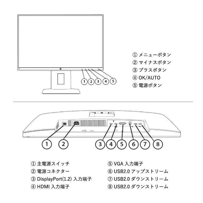 HP Z23n プロフェッショナル液晶モニター 23インチワイド ブラック フルHD 非光沢 IPSパネル HDMI ディスプレイポート【中古】|oa-plaza|06