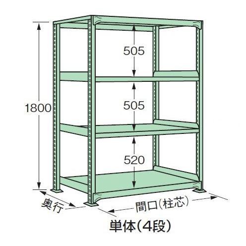 スチールラック スチール棚 スチール棚 中量棚 H1800×W1800×D600 天地4段(単体)
