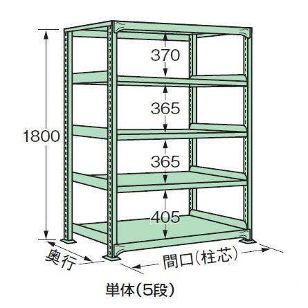 スチールラック スチール棚 中量棚 H1800×W1800×D600 天地5段(単体)