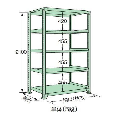 スチールラック スチール棚 中量棚 H2100×W900×D750×天地5段(単体)