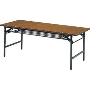 トラスコ(TRUSCO) 折りたたみ会議用テーブル棚付1800×750×700チ 1875(1800X750)(チーク)