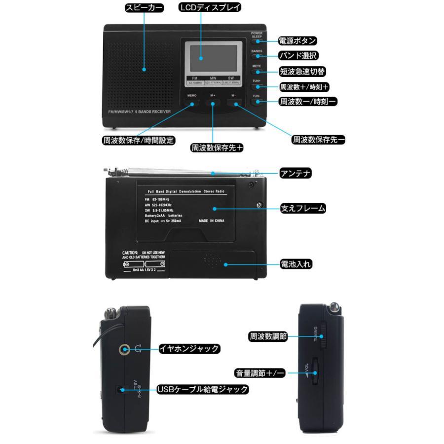 ラジオ 小型ポータブル FMAMSW ワイドFM対応 高感度受信クロックラジオ イヤホン付き タイマー機能 USB電池式 横置き型 日本語取扱説明書付き|oasistrade|03