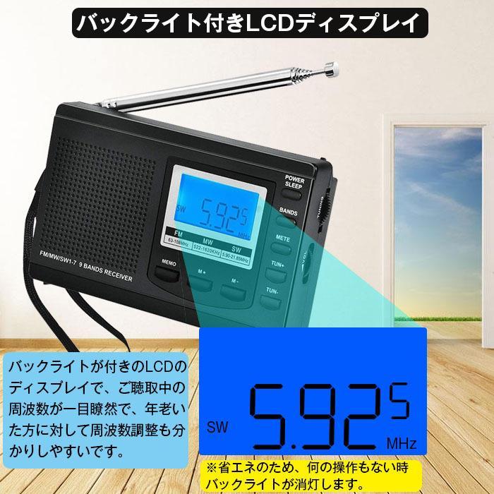 ラジオ 小型ポータブル FMAMSW ワイドFM対応 高感度受信クロックラジオ イヤホン付き タイマー機能 USB電池式 横置き型 日本語取扱説明書付き|oasistrade|05