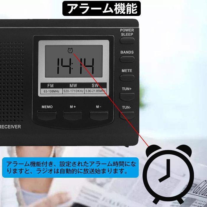 ラジオ 小型ポータブル FMAMSW ワイドFM対応 高感度受信クロックラジオ イヤホン付き タイマー機能 USB電池式 横置き型 日本語取扱説明書付き|oasistrade|07