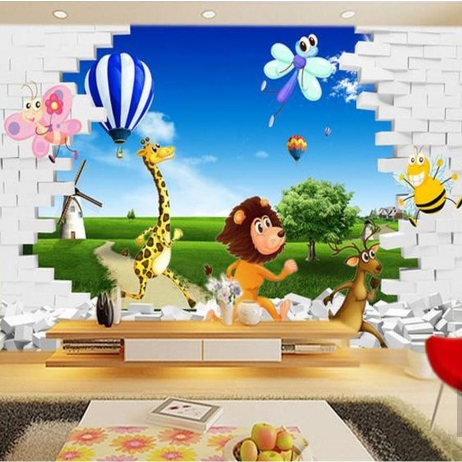 3d 壁紙 おしゃれ Diy 1ピース 1m2 子供部屋 アニメ画 走る動物たち