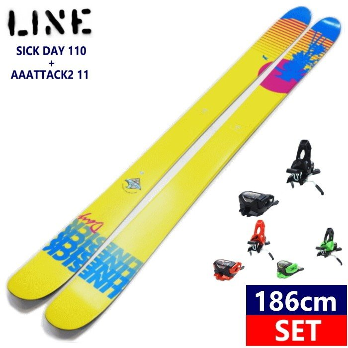 ●[186cmセンター幅110mm]LINE SICK DAY 110+AAATTACK2 11 滑り系オールマウンテンフリースキー板パウダーもトリックも楽しめる 【型落ち・旧モデル】