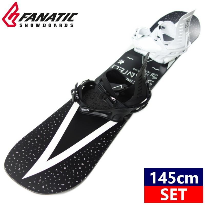 レディース ★[145cm]19 FANATIC SLANTED+19 FIX JANUARY カラー:ASYM BK*WT スノーボード 型落ち 板 バイン 二点セット