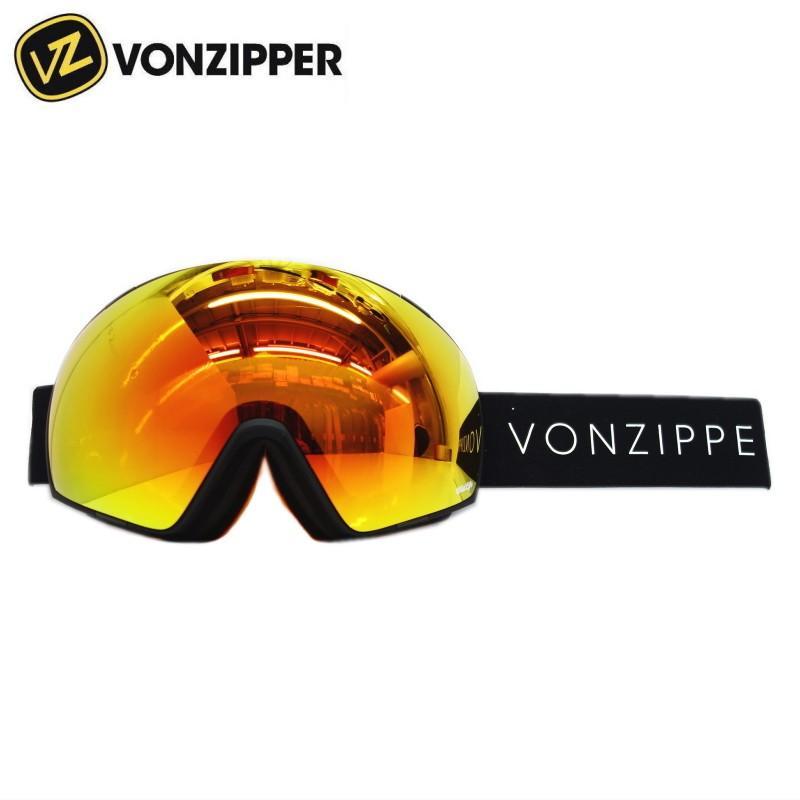 ★VONZIPPER JETPACK カラー:DBF 黒 SATIN レンズ:WILD FIRE CHROME&WILDLIFE 黄 ボンジッパー ジェットパック スキー・スノーボード用ゴーグル