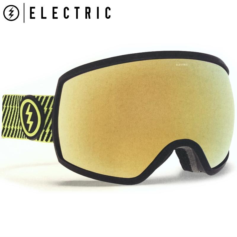 ★19 ELECTRIC EGG カラー:VOLT STRIPE レンズ:グレー ゴールド CHROME JP 視界の広さを実現 球面スノーボードスキーゴーグル【型落ち 旧モデル】
