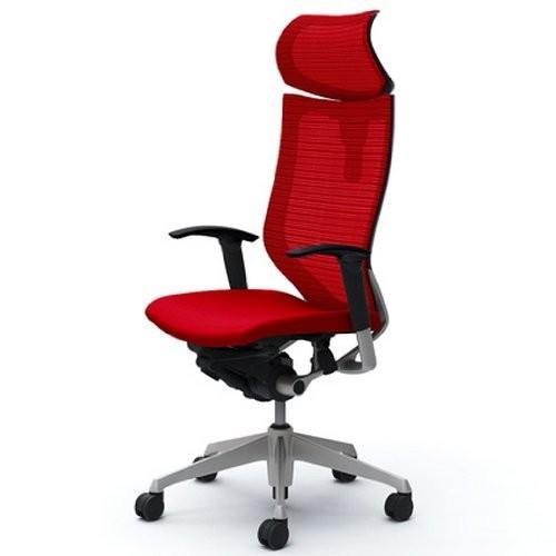 オカムラ オフィスチェア バロン 可動ヘッドレスト 可動肘 可動肘 座クッション デスクチェア レッド CP81DR-FDF9