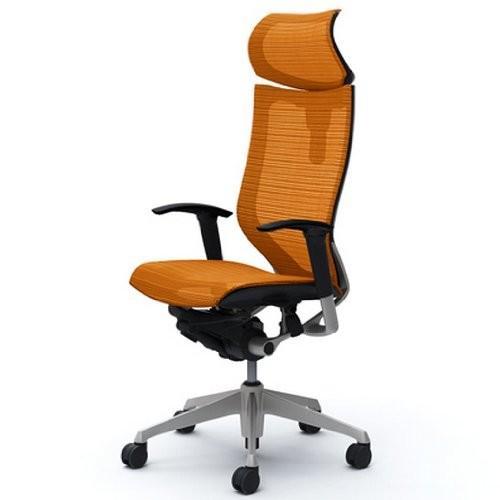 オカムラ オカムラ オフィスチェア バロン 可動ヘッドレスト 可動肘 座メッシュ オレンジ CP81CR-FDH8