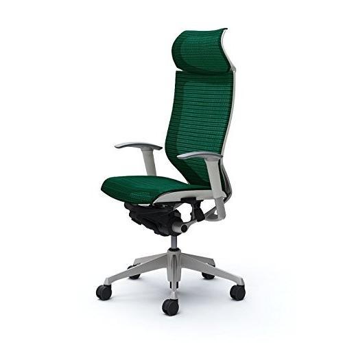オカムラ デスクチェア オフィスチェア オフィスチェア バロン 固定ヘッドレスト 可動肘 座メッシュ ダークグリーン CP87CW-FEH5