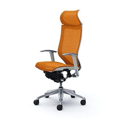 オカムラ オフィスチェア バロン 固定ヘッドレスト 可動肘 座メッシュ オレンジ CP87AW-FDH8