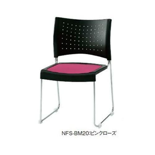 トキオ トキオ - NFS-BM20 ミーティングチェア メッキ脚 布ピンクローズ、樹脂ブラック