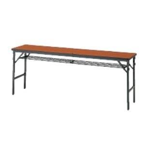 生興 ワイドフレーム 塗装脚 折りたたみテーブル 棚付  W1800×D600×H700MM   MT-2060WT□|offic-one