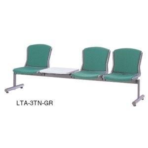 生興 ロビーチェアー ビニールレザー張り 3人掛テーブル付 LTA LTA-3TL□