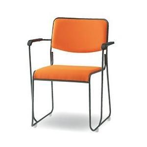 トキオ トキオ - FSC-15TA ミーティングチェア 塗装脚肘付ききタイプ 布 オレンジ