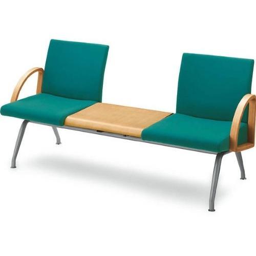 コクヨ ロビーチェアー コレッティ 3連テーブル付きアームチェアー 幅1660MM カラー K0B6 ブラック