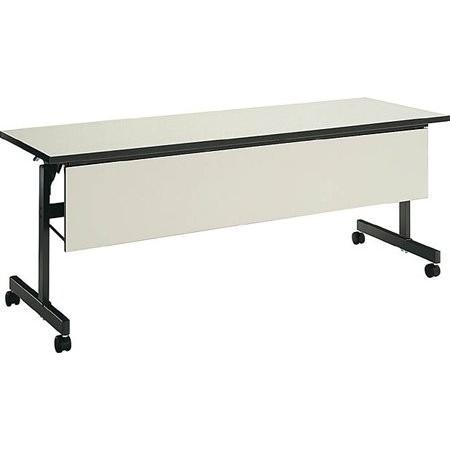 コクヨ   会議 ミーティング用テーブル KT-60シリーズ 天板フラップ式 棚付き パネル付き 幅1200×奥行き450MM 天板カラー|offic-one