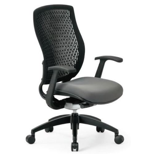 アイコ オフィスチェア ハイバック ハイバック T型肘付き 樹脂メッシュバックチェア 背カラー 座カラー 背レッド 座ブラック