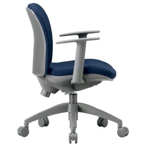 アイコ 3Dフォーム・オフィスチェア T型肘付タイプ・ビニールレザー張り カラー カラー パステルブルー