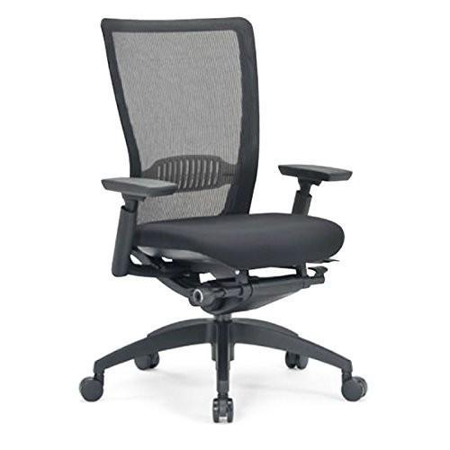 アイコ オフィスチェア ミドルバック 肘付き ブラック 背 布メッシュ 樹脂脚 背カラー レッド