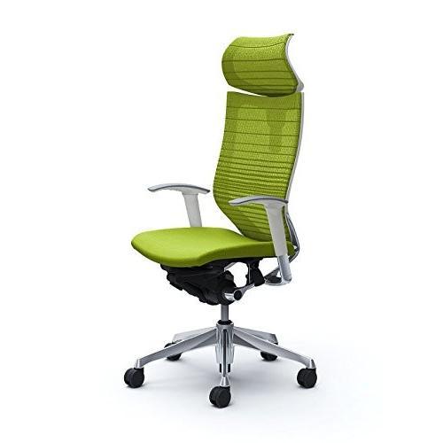 オカムラ オフィスチェア バロン 可動ヘッドレスト 可動肘 座クッション ライムグリーン CP81BW-FGR5
