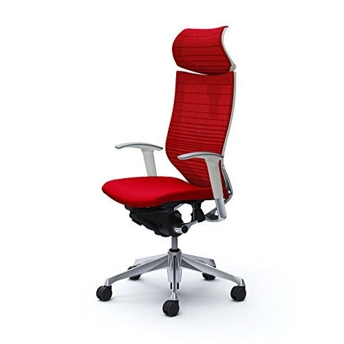 オカムラ オフィスチェア バロン 可動ヘッドレスト 可動肘 座クッション レッド CP81BW-FGR9