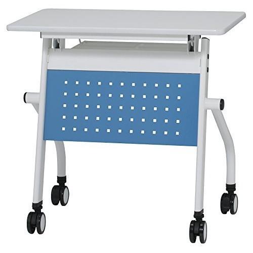 井上金庫 会議テーブル 跳ね上げ式 W750×D450×H720 幕板付き スタックテーブル GD-634M 天板ホワイト×幕板ブルー