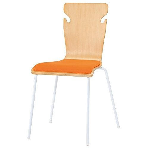 井上金庫 4脚セット 木製チェア カバン掛け付き ミーティングチェア ウッドチェア 会議用椅子 GD-605 OR OR オレンジ 座クッションタ